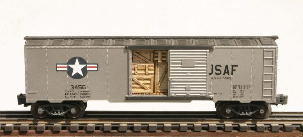 "US Air Force 40′ Box Car_USAF Insignia & Door Cargo Inserts_3456(SC9AE.3USAF)_Operates on 3-Rail ""O""Gauge track"