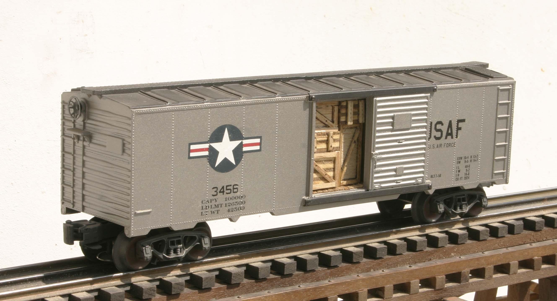 "US Air Force 40′ Box Car_USAF Insignia & Door Cargo  Inserts_3456(SC9AE 3USAF)_Operates on 3-Rail ""O""Gauge track"