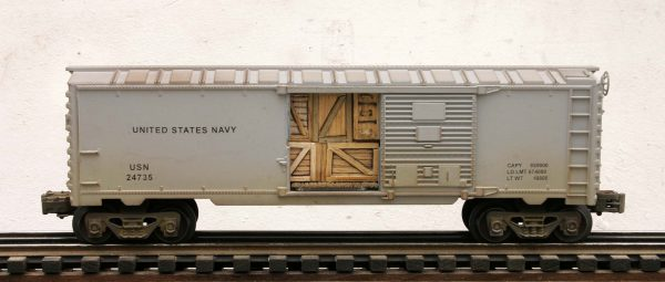 "US Navy 40′ Box Car with Door Cargo Inserts USN 24735(SC9E.1USN)_Operates on 3-Rail ""O""Gauge track"
