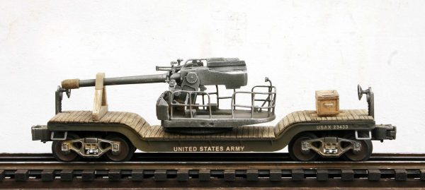 US Army M37 5″/38 Gun Load w/Cribbing on 35′ Drop Center Flat Car USAX 23433(AR4B-FC5.2USA)