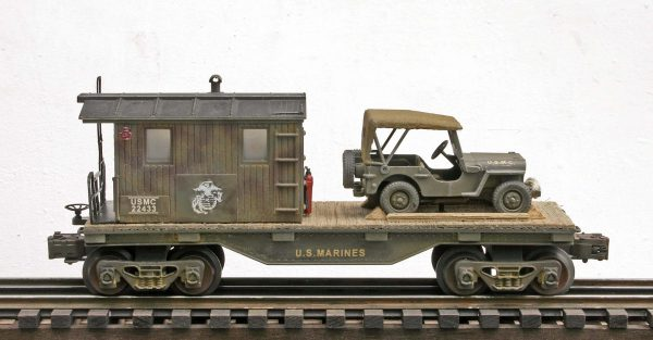 USMC 32′ Transport Caboose w/Closed  Cover Jeep on  USMC 22433(CAB4A-FC1.2USMC)