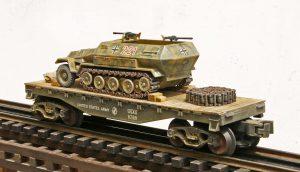 Us Army Captured Wwii German Sd Kfz251 Half Track No 221 On U S Army 35 Flat Car Capav4 4 Fc1