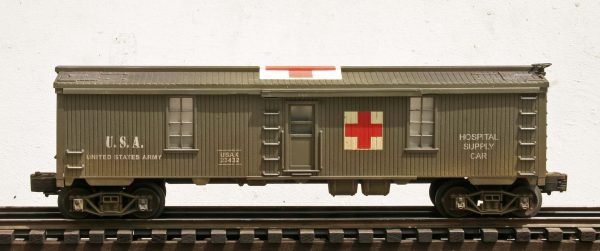 "US Army Hospital Supply Car, Lighted, USAX 23432(SC1.2USA)_Operates on 3-Rail ""O""Gauge track"