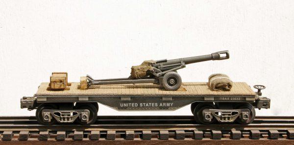 US Army 57mm Field Gun Tow on 32′ Flat Car USAX 23033(AR2.3-FC1.2_USA)