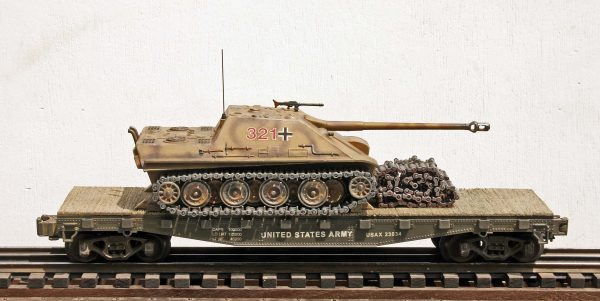 "US Army Captured WWII German JagdPanther 321 on U.S. Army 42` Flat Car USAX 23034(CAPAV3.6-FC3.2USA/GER)_Operates on 3-Rail ""O""Gauge track"