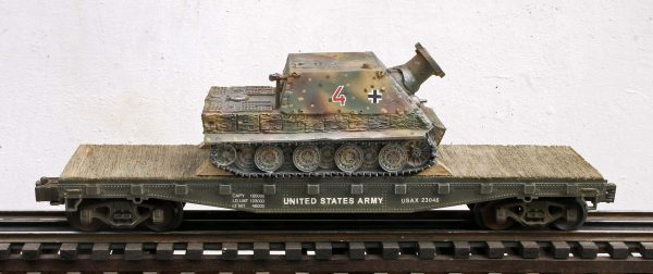 "US Army Captured WWII German Sturmtiger  38cm RW61 Morser No.4 on U.S. Army 42` Flat Car USAX 23046(CAPAV8.1-FC3.2USA/GER)_Operates on 3-Rail ""O""Gauge track"