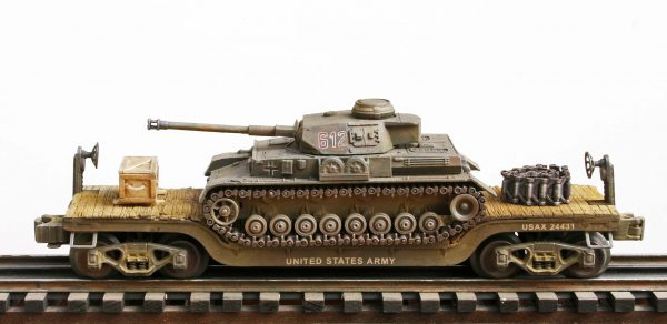 """US Army Captured WWII German Pz IV Tank 612 on U.S. Army 32` Flat Car USAX 24431(CAPAV1.1-FC5.2USA/GER)_Operates on 3-Rail """"O""""Gauge track • Available Today •"""