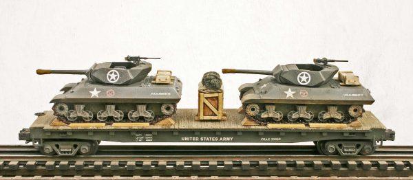 "U.S. Army M10 Tank Destroyers(x2) on 50′ Flat Car USAX 23060(MV11AA-FC6.2USA)_Operates on 3-Rail ""O""Gauge track"