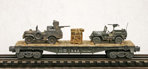 "US Army M6 WC55 Dodge 37mm GMC & Willys Jeep w/30 Cal. M.G. on 40′ Flat Car, USAX34061(MV22A&4C-FC2.2USA)_Operates on 3-Rail ""O""Gauge track"