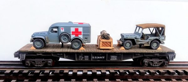 "US Navy WC54 Dodge Ambulance & Willys Jeep on 40′ Flat Car USNX 23538, WWII/KOREA(MV3A-4A-FC2.2USN)_Operates on 3-Rail ""O""Gauge track"