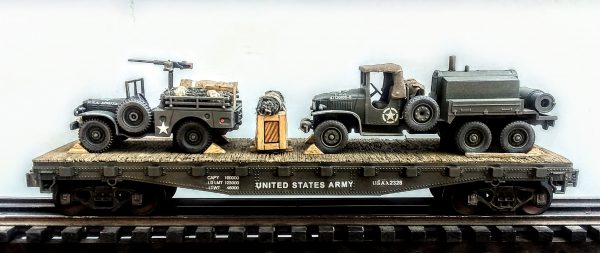 "US Army WC51 Dodge 4×4 Cargo Carrier w/50 Cal. M.G. Pedestal + GMC 353 Leroi Compressor Truck on 42′ Flat Car USAX 2328(MV31-FC3.2USA)_Operates on 3-Rail ""O""Gauge track"