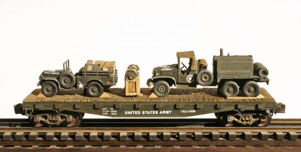 "US Army WC51 Dodge 4×4 Cargo Carrier + GMC 353 Leroi Compressor Truck on 42′ Flat Car USAX 2328(MV31-FC3.2USA)_Operates on 3-Rail ""O""Gauge track"