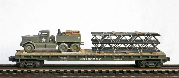 "US Army M-20 Diamond T Prime Mover w/Double Stack Bridging Truss Load on 50′ Flat Car USAX 23029(V15.3-FC6.2USA)_Operates on 3-Rail ""O""Gauge track"