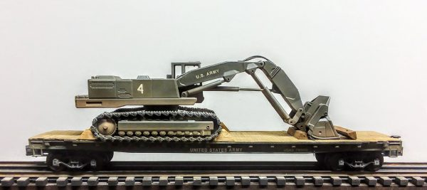 """US Army Corps of Engineers Tracked Excavator on 50′ Flat Car~ USAX 78900, Vietnam,(EME18A-FC6.2USA_Operates on 3-Rail """"O""""Gauge track • Available Today •"""