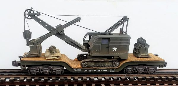 "U.S. Army Crawler Shovel on 45′ Drop Center Flat Car USAX 23031(EME26-FC8.2BUSA)_Operates on 3-Rail ""O""Gauge track"