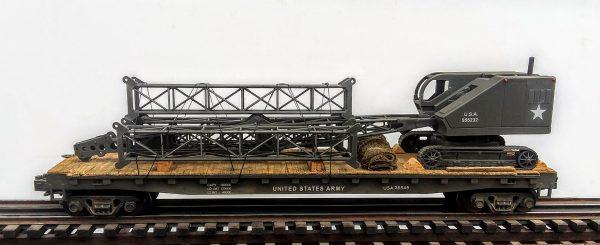 "U.S. Army Crawler Boom Crane w/Stacked Boom Sections on 50′ Flat Car USA26549(EME27-FC6.2USA)_Operates on 3-Rail ""O""Gauge track"