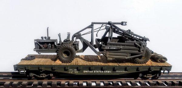 "U.S. Army LeTourneau Super C Tournapull w/LP Carryall(U.S.A.9242642) on 42′ Flat Car USAX 23531(EME38-FC3.2USA)_Operates on 3-Rail ""O""Gauge track • Available Today •"