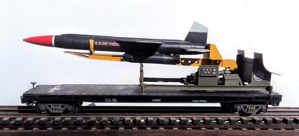 "USAF M-99 BOMARC Missile & Launcher on 50′ Flat Car USAF23559(MR4-FC6.1USAF)_Operates on 3-Rail ""O""Gauge track"