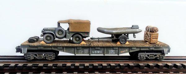 "USMC WC51 Dodge Cargo Carrier w/USA Zodiac Boat w/Motor & Trailer on 40′ Flat Car USAX 23532(V23-FC2.2USMC)_Operates on 3-Rail ""O""Gauge track"