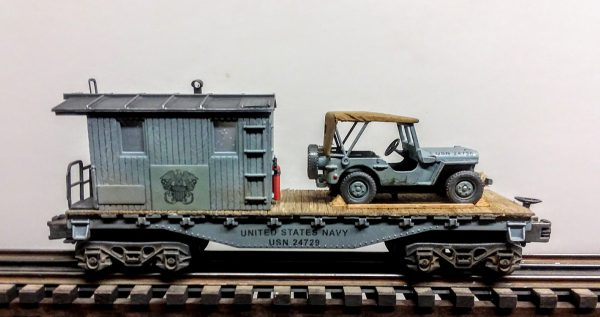 "U.S. NAVY  32′ Transport Caboose w/Closed  Cover Jeep, Lighted, (CAB4A-FC1.2USN)_Operates on 3-Rail ""O""Gauge track"