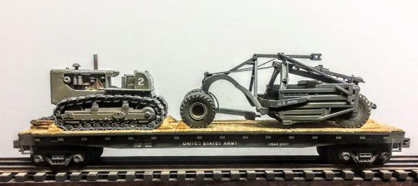 "U.S. Army Crawler Tractor & Le Tourneau Scraper on 50′ Flat Car USAX 23057(EME37B-FC6.2USA)_Operates on 3-Rail ""O""Gauge track • Available Today •"