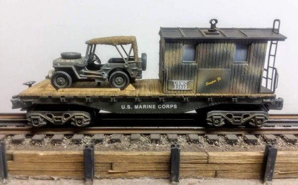 "USMC 32′ Transport Caboose w/Closed  Cover Jeep on  USMC 23522 Flat Car, Lighted, (CAB4A-FC1.2USMC)_Operates on 3-Rail ""O""Gauge track"