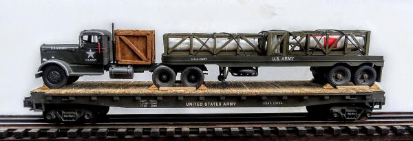 "US Army Honest John Missile & Mobile Carrier on a 50′ Flat Car USAX23054(MR7-FC6.2USA)_Operates on 3-Rail ""O""Gauge track"
