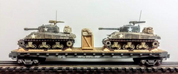 "US Army M4A3 Sherman Tanks w/75mm & 105mm Turrets on 50′ Flat Car USAX 23022(MV8AA.1-FC6.2USA)_Operates on 3-Rail ""O""Gauge track"