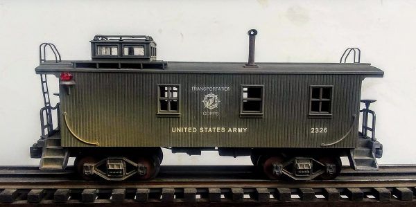 "US Army Transportation Corps Wood-Sided Caboose No. 2326(CAB 12USA)_Operates on 3-Rail ""O""Gauge track"