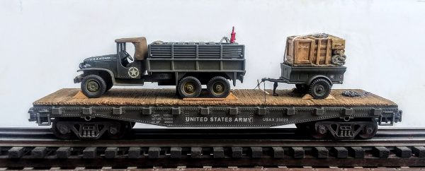 "US Army GMC 2 1/2 ton Cargo Truck w/Gas Can Load & Tow Trailer on 42' flat car, USAX23023(V8D-FC3.2USA)_Operates on 3-Rail ""O""Gauge track"