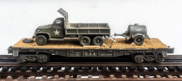 "US Army GMC CCKW 353 Cargo-Dump Truck w/Hard Cab Protector & Container Trailer on 40′ Flat Car USAX 23055(V8R-FC2.2USA)_Operates on 3-Rail ""O""Gauge track"