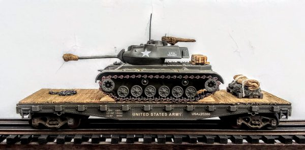 """US Army M47 Patton Tank on 42′ Flat Car, USAX 23300(AV14-FC3.2USA)_Operates on 3-Rail """"O""""Gauge track • Available Today •"""