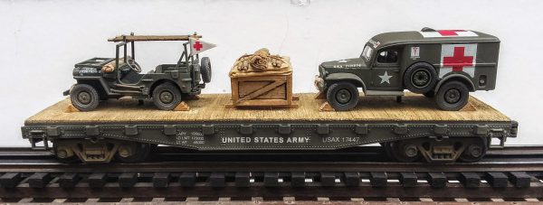US Army WC54  Dodge Ambulance & Jeep Stretcher Ambulance/42′ Flat Car USAX 17447(MV3A-4C-FC2.2USA)