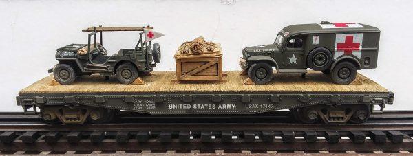 US Army WC54  Dodge Ambulance & Jeep Stretcher Ambulance/42′ Flat Car USAX 17447(MV3A-4C-FC2.2USA)