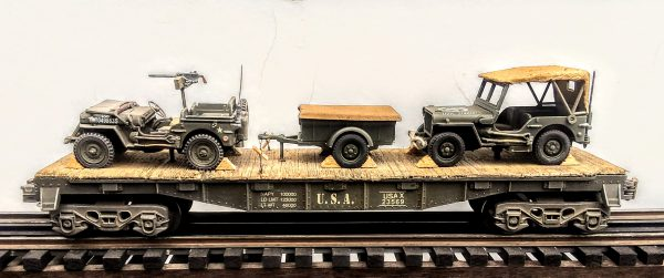 "US Army Willys Jeep w/30 Cal. M.G. & Willys Jeep w/Cover, USAX23569(MV4DA-FC2.2USA)_Operates on 3-Rail ""O""Gauge track"