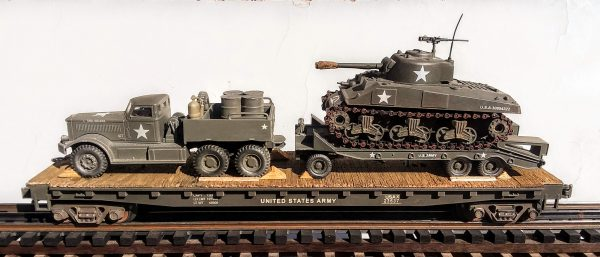 "US Army M-20 Diamond T 12 Ton Prime Mover with M-9 Tank Transport & M4A3 Sherman Tank on 50′ Flat Car USAX 23537(V15.4-FC6.2USA)_Operates on 3-Rail ""O""Gauge track"