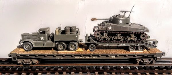 """US Army M-20 Diamond T 12 Ton Prime Mover with M-9 Tank Transport & M4A3 Sherman Tank on 50′ Flat Car USAX 23537(V15.4-FC6.2USA)_Operates on 3-Rail """"O""""Gauge track"""
