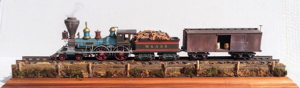 """American Civil War """"General"""" Locomotive-Tender & Freight Car Commemorative Set with plexiglas display case & track section_Operates on 3-Rail """"O""""Gauge track. Custom Finished by Modelcrafters_Operates on 3-Rail """"O""""Gauge track • Available Today •"""