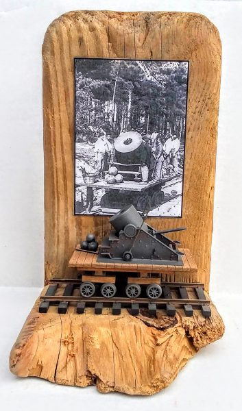 "American Civil War Railroad Display_13″ Mortar ""Dictator"" on Flat Car with ""The Siege of Petersburg, VA • 1864"" period photo."