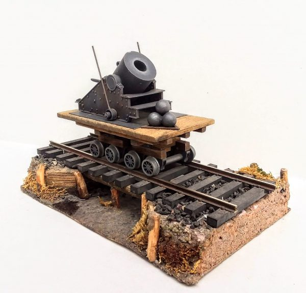 "American Civil War Railroad Diorama_13″ Mortar ""Dictator"" on Flat Car from ""The Siege of Petersburg, VA • 1864"""