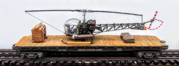 "US Army H-13 Sioux Evacuation Helicopter on 47′ Flat Car, Korean War(MASH)-Vietnam USAX 23549(HELI13S.1-FC11.2USA)_Operates on 3-Rail ""O""Gauge track"