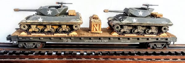 "U.S. Army M10 Tank Destroyers(x2) on 50′ Flat Car USAX 23000(MV11AA-FC6.2USA)_Operates on 3-Rail ""O""Gauge track"