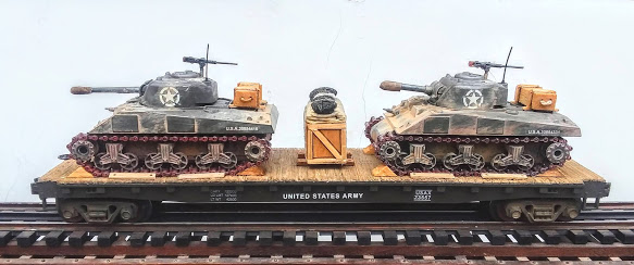 "US Army M4A3 Sherman Tanks w/75mm & 105mm Turrets on 50′ Flat Car USAX 23557(MV8AA.1-FC6.2USA)_Operates on 3-Rail ""O""Gauge track"