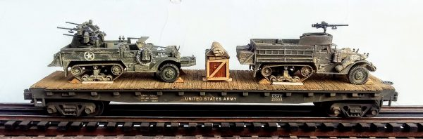 "US Army_M16 HalfTrack w-Quad 50's & M3A1 HalfTrack w-50 cal Machine Gun Ring on 50′ Flat Car USAX23558(MV5DF-FC6.2USA)w-Supply Crate Load_Operates on 3-Rail ""O""Gauge track"