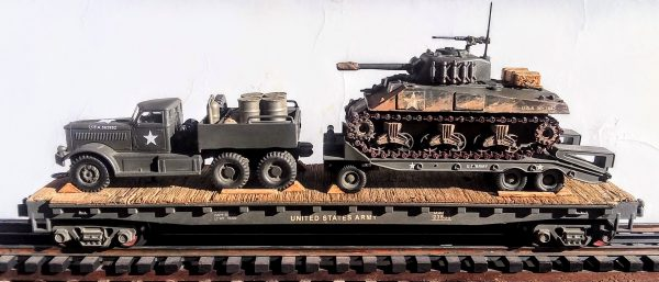 "US Army M-20 Diamond T 12 Ton Prime Mover with M-9 Tank Transport & M4A3 Sherman Tank on 50′ Flat Car USAX 23556(V15.4-FC6.2USA)_Operates on 3-Rail ""O""Gauge track"