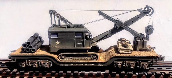 "U.S. Army Crawler Shovel on 45′ Drop Center Flat Car USAX 23535(EME26-FC8.2BUSA)_Operates on 3-Rail ""O""Gauge track"