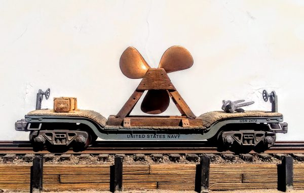 """US Navy Ships Propeller Load w/Anchor & Supply Load on 35′ Drop Center Flat Car USN 2472(BSA4A.2-FC5.2USN)_Operates on 3-Rail """"O""""Gauge track  • Available Today •"""