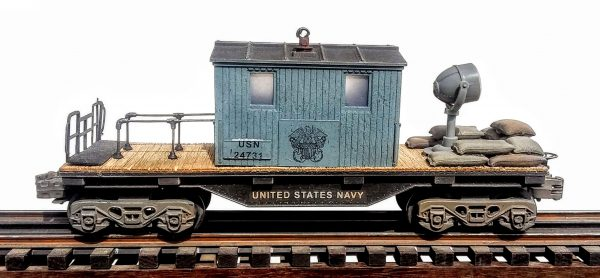 "US Navy Center-Cab Caboose with Operating Searchlight, USN 24731(CAB2-FC1.2USN)_Operates on 3-Rail ""O""Gauge track"