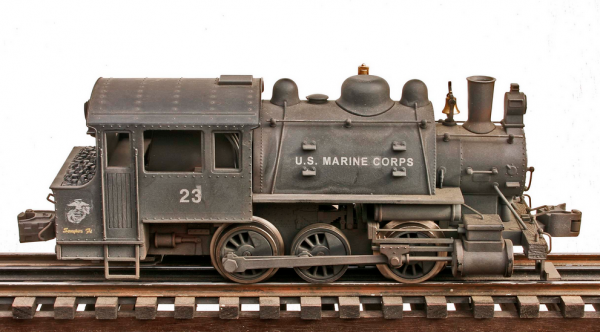 "USMC Base Steam Switcher Engine No. 23(L-28600USMC)_Operates on 3-Rail ""O""Gauge track • Available Today •"