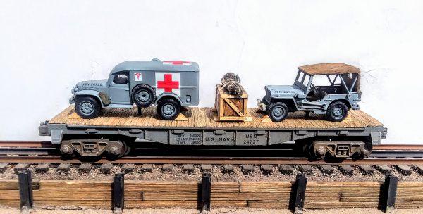 "US Navy WC54 Dodge Ambulance & Willys Jeep on 40′ Flat Car USNX 24727, WWII/KOREA(MV3A-4A-FC2.2USN)_Operates on 3-Rail ""O""Gauge track"